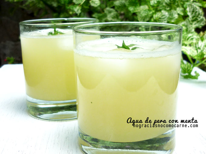 agua de pera con menta | Receta vegana