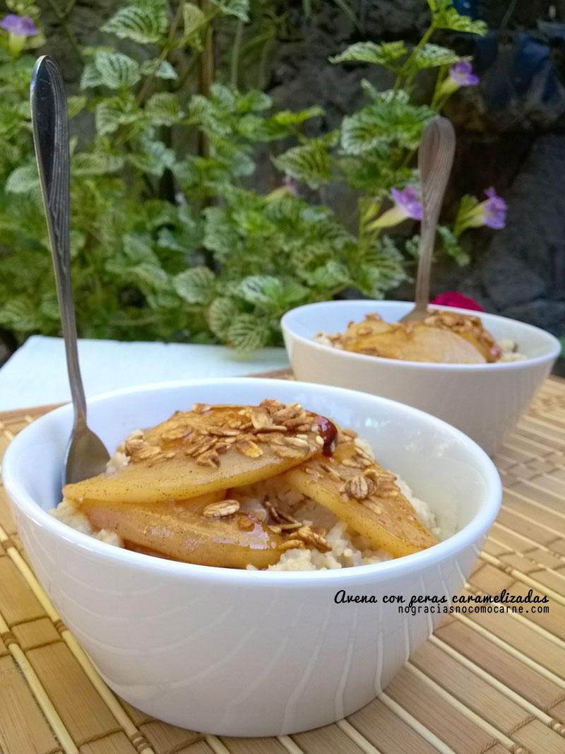 Receta vegana: Avena con peras caramelizadas