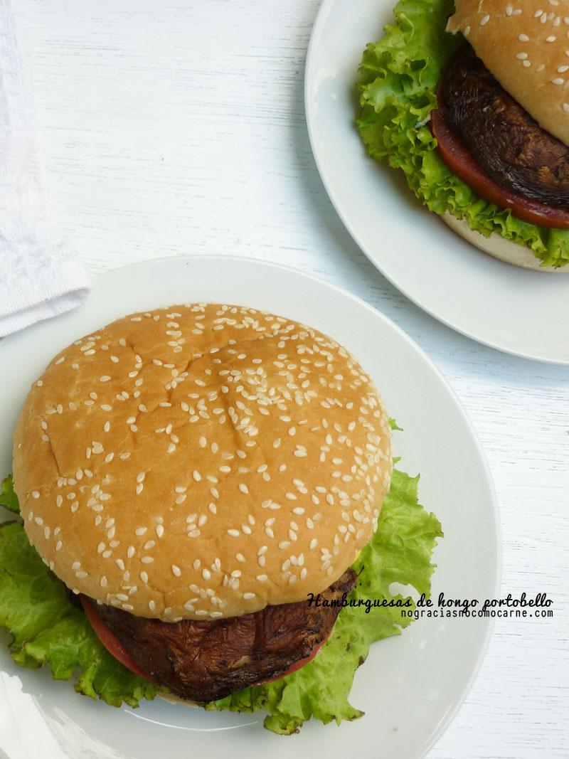 Receta vegana de hamburguesas de hongo portobello