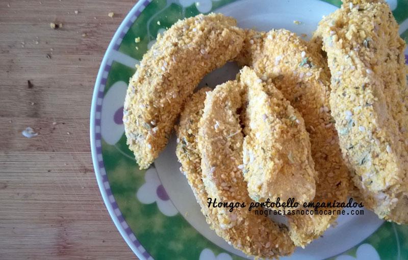 hongos portobello empanizados crujientes por fuera y suaves por dentro