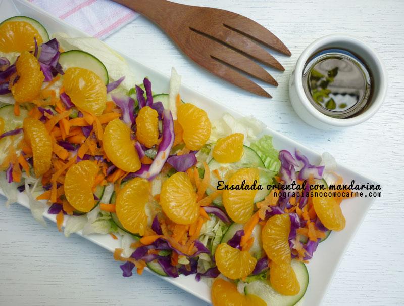 Ensalada oriental con mandarina y aderezo de ajonjolí   Receta