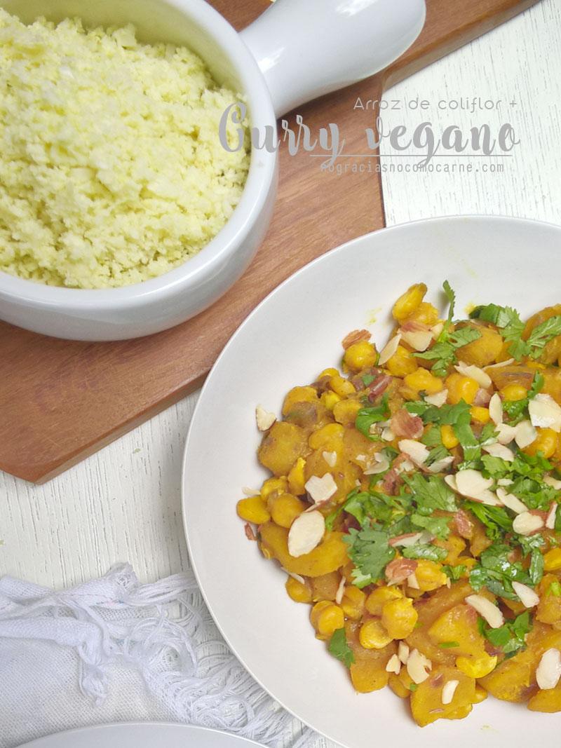 Curry vegano + arroz de coliflor | No gracias no como carne